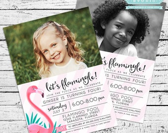 Flamingo Photo Invitation with Thank You Note