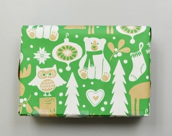 Green Kraft Forest Animals Christmas Wrapping Paper, 2 Feet x 10 Feet - New for 2017