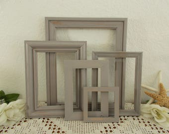 Grey Picture Frame Set Gray Photo Gallery Collection Up Cycled Vintage Rustic Shabby Chic Distressed Wood Country Farmhouse Home Decor Gift