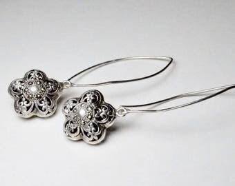 Vintage Sterling Silver Large Hook Marcasite Filigree Dangle Flower Earrings