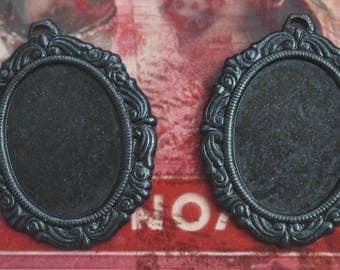 TWO 18mm X13mm Oval Brass Bezels frames,  Black Satin Finish