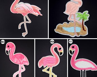 1/10PCS Embroidered Sew On Patches Flamingo Transfer Fabric Bag Clothes Applique