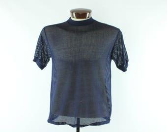 Vintage 50s Mesh Surfer Shirt Short Sleeve Surf T-Shirt Navy Blue Knit 1950s Medium M Large L Ken Venturi