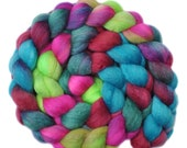 Hand dyed roving - Silk / Polwarth 40/60% wool roving - 4.1 ounces - Party Preparations 2