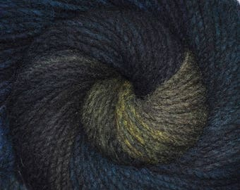 Handspun yarn - Hand painted domestic wool, heavy worsted weight, 180 yards - Midnight Ocean