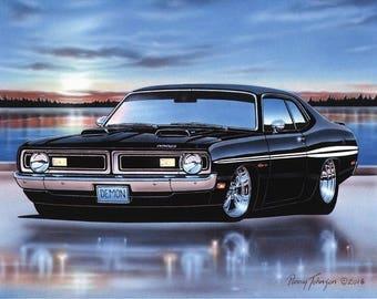 1970 Dodge Demon 340 Muscle Car Art Print Black 11x14