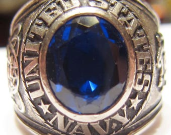 Vintage US Navy Pride Sterling Silver Men's Ring Size 9 3/4