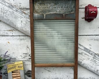 Antique Soap Saver Washboard No.90 - National Washboard Co. - Chicago Saginaw - Memphis