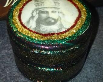 King of Kings Rasta Style 420 box - Rastafari Selassie I Ring Box