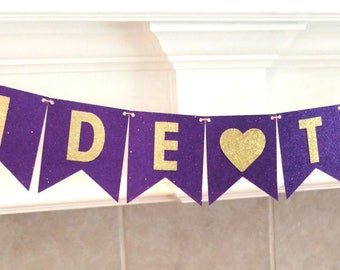 Purple Bridal Shower Banner, Bride To Be Banner, Bridal Shower Banner, Purple and Gold Banner, Purple and Gold Wedding, Glitter, assembled