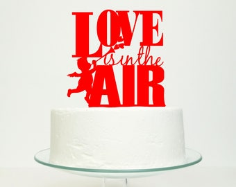 S A L E 'Love Is In The Air' Wedding Cake Topper in Red