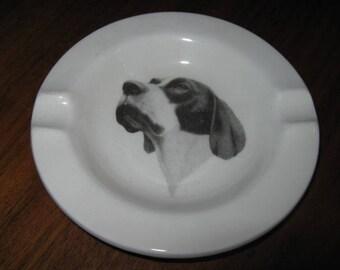 Vintage Ceramic Hunting Dog Ashtray
