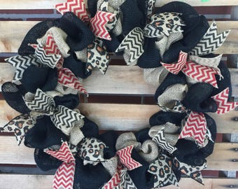 Burlap Wreath, Front Door Wreath, Door Hanger, Red and Black Wreath, Housewarming Gift, Rustic Decor, Everyday Wreath,