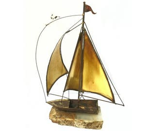 Vintage 1970s Handmade Brass Sailboat Ship with Seagull Scultpure on Onyx Base