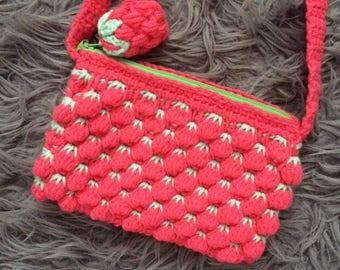 "Rasperry Crochet ""Berry Stitch"" Shoulder Bag"