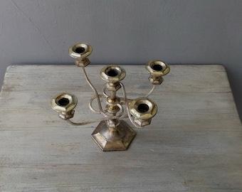 5 arms Candelabra Gold Plated, Vintage Art Deco Candelabra, Mid Century Mantle Decor, Vintage Wedding Candelabra, Shabby Decor Candelabra