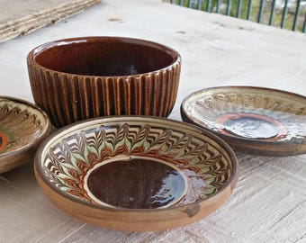 Vintage Small Pottery Dishes, 70s Ring Plates Handcrafted, Brown Orange Glazed Trinket Bowls , Retro Kitchenware Collector Israel Pottery
