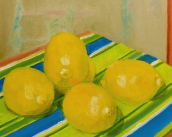 Still Life Oil Painting on Canvas Lemons and Stripes
