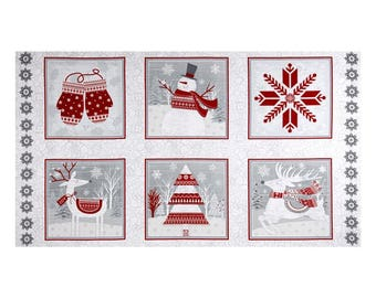 """FLANNEL - Frosty Winter 25""""x44"""" Panel from Henry Glass's Frosty Folks Flannel Collection"""