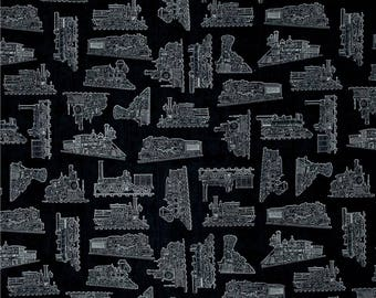 Vintage Tonal Trains on Black from Quilting Treasure's Full Steam Ahead Collection