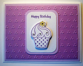 Cupcake with Flower Birthday Card