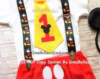 Mickey Mouse Birthday cake smash outfit MM suspenders FREE EARS clubhouse baby I am one 1 tie 1st diaper cover necktie 6 9 12 18 24 toddler