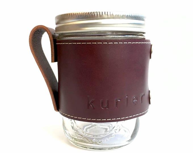 Wine colored Kurier leather Camp Mug