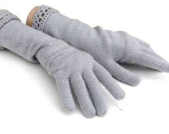 Knit gloves, gloves with fingers,  gray gloves, knitting arm warmers, women autumn gloves, handmade accessories, mittens, winter full gloves