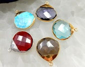 Gemstone Faceted Briolette Pendant with Electroplated 24k Gold or Silver Cap and Edge (S23B9)