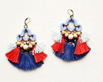 Tassel Earrings, Fringe Earrings, Bohemian Chandeliers, Hippie Earrings, Statement Earrings,  Boho Earrings, Red and Blue Earrings