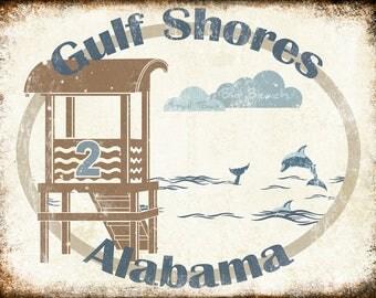 "Small Town Big Beach // Gulf Shores, Alabama  // Metal Sign // 12"" x 16"""