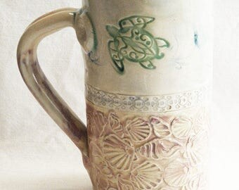 ceramic seaside coffee mug 20oz  stoneware 20D031