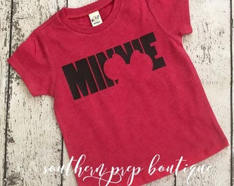 Minnie Silhouette Tee | Vinyl tee - Kids comfy tee - Summertime t shirt - Crew neck kids t shirt - Everyday Tee - Girl's or boy's shirt