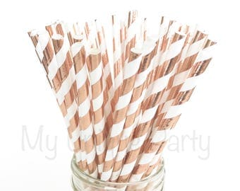 Rose Gold Paper Straws / New Rose Gold Stripe Paper Straws Weddings Birthdays Anniversary Bridal Shower Bachelorette Party Baby Shower