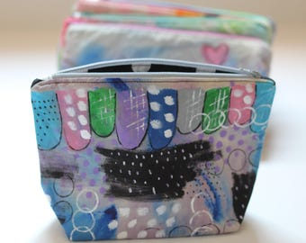 Hand Painted Zipper Pouch.  scribbles.