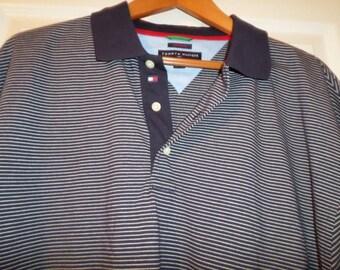 Vintage Tommy Hilfiger Shirt Golf XL Stripe Short Sleeve 44 Medium Large Polo Gift Made in Hong Kong