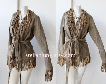Vintage fringe Leather jacket Coat so cute large size gray stone leather fringe jacket moto american boho hippie