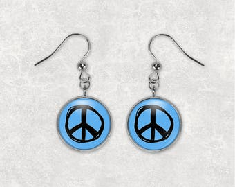 Peace Earrings Peace Sign Earrings Peace Sign Jewelry