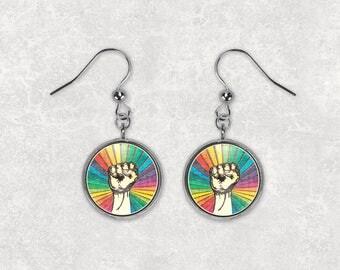 Rainbow Earrings Resist Earrings Rainbow Resist Earrings Fist Earrings