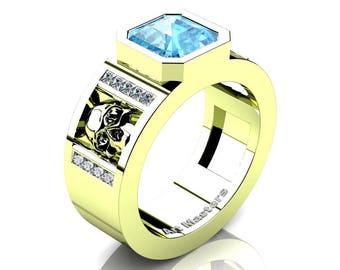 Mens Modern 18K Green Gold 3.0 Ct Royal Emerald Cut Paradise Blue Topaz Princess Diamond Skull Wedding Ring R41N-18KGGDBT