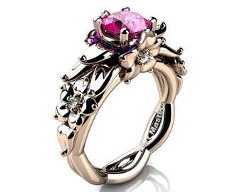 Nature Inspired 14K Rose Gold 1.0 Ct Pink Sapphire Floral Engagement Ring R460-14KRGPS