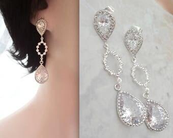 Long Cubic zirconia earrings, Brides earrings, Wedding earrings,Sterling Silver posts,Bridal Jewelry,Long wedding earrings,Sparkly earrings