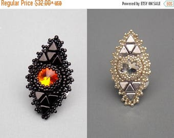 Summer sale Bead Embroidery,  Ring,  Seed beads jewelry, Fashionable jewelry,  Trending ring, Swarovski,  Black,  Fire