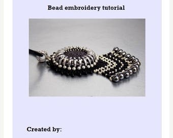 Summer sale -15% DIY, KIT ,Pattern,  Tutorial and Materials , Bead embroidery KIT , Instructions and materials , Lava gemstone necklace
