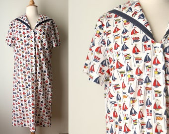 1960s 1970s Nautical Summer Sailboats Polyester Knit Dress