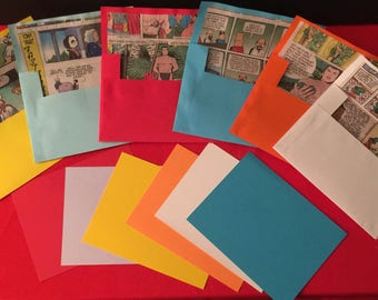 Comic lined Hand Made Envelopes and Note Cards - Set of 6