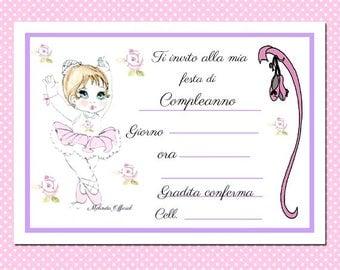 Invito compleanno,ballerina ,invitation party,happy birthday,dancer