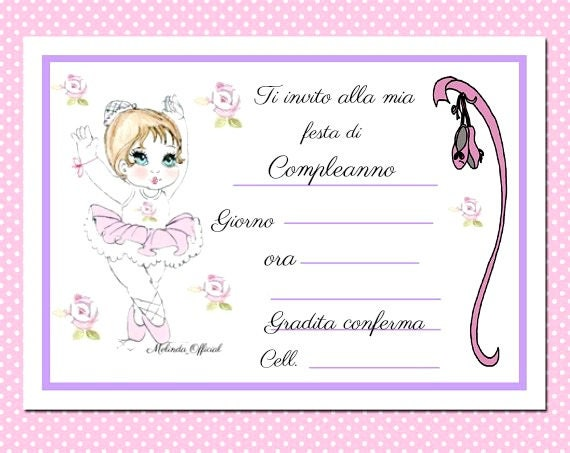 Invito compleanno,ballerina ,invitation party,happy birthday,dancer