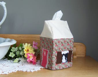 Tissue Box Cover, Get Well Gift, Bathroom Decor, Kleenex Box Cover, Cottage Style House for Cat Lovers, Tissue Dispenser