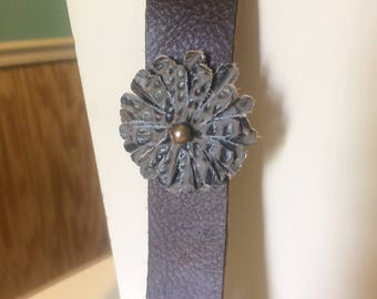 Genuine Leather Cuff Bracelet with Embossed Brown/Black Leather Flower with Gold Pearl Center